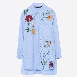 Zara embroidered poplin shirt NWOT
